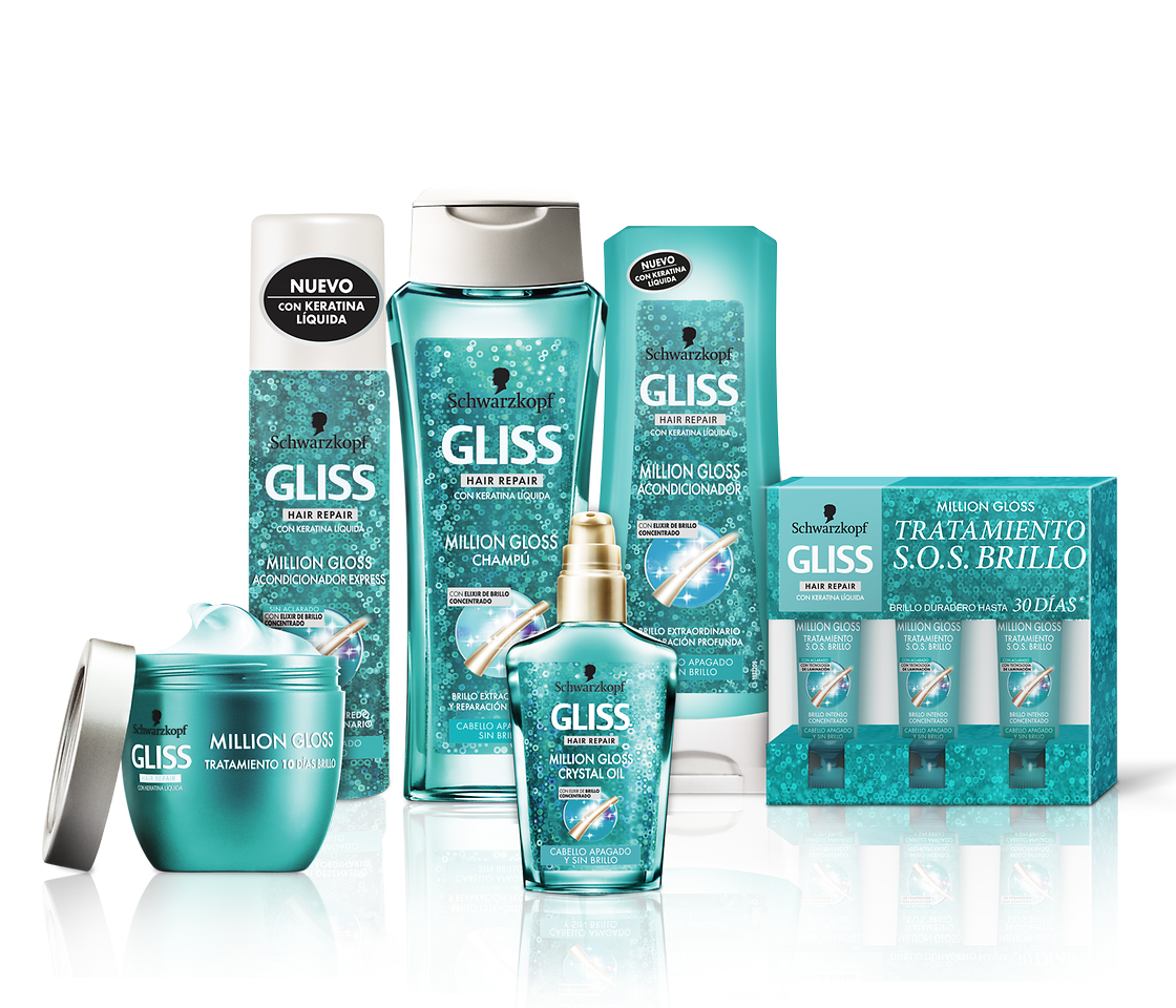 Bodegón de productos Gliss Million Gloss